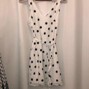 White and black polka dot tie dress